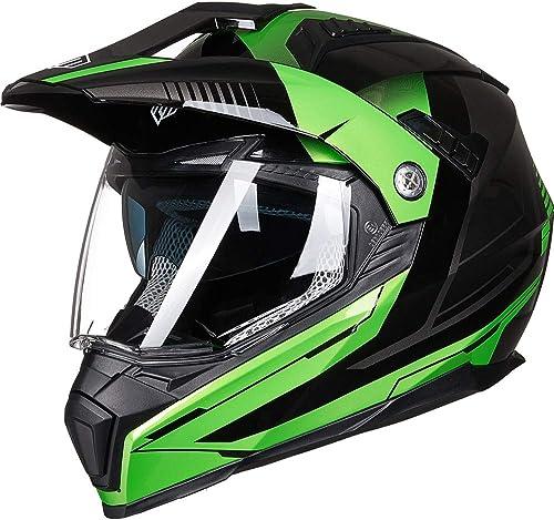 ILM Off Road Motorcycle Dual Sport Helmet Full Face Sun Visor Dirt Bike ATV Motocross Casco DOT Certified (L, Green)
