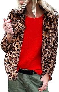 Faux Fur Jacket Coat Womens Winter Leopard Lapel Collar Short Warm Fluffy Fashion Cropped Parka Cardigan Autumn