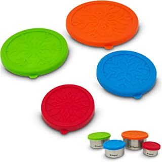 Penguinni Food Container Silicone Lids | Food Cover Lids Best for Lunchbox for Toddlers, Kids, Bowls, and Stainless Steel Containers | BPA Free and Eco-Friendly | 4 Pcs Washable and Reusable Lids