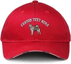 Custom American Flag Hat Alaskan Malamute A Embroidery Design Cotton