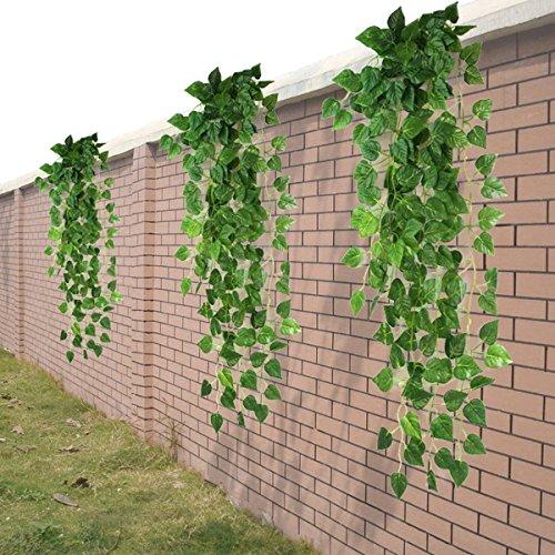 HugeStore 90cm Kunstpflanze Künstliche Weinrebe Blätter Künstlicher Efeu Hänger Efeugirlande Pflanze Deko 3 Stück