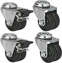 Moligh doll Roulette pivotante en plastique 8mm Tige filetee diametre de roue de 1,5 pouces 4 Pcs Noir