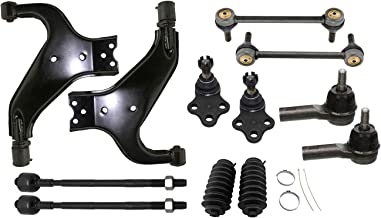Detroit Axle - 12pc Front Lower Control Arms w/Ball joint & Tierods & Sway Bars & Rack Boots for 1996-2004 Nissan Pathfinder - [1997-2003 Infiniti QX4]
