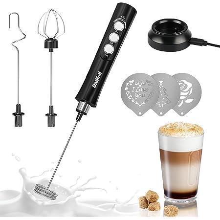 Espumador de leche de mano, Dallfoll mini fabricante eléctrico recargable por USB para café de leche, 3 velocidades, espumante de leche con 3 batidores para café a prueba de balas, cappuccino, café Matchatproof, Matcha