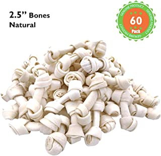 MON2SUN Dog Rawhide Knot Bones 2.5 Inch for Puppy and Small Dogs