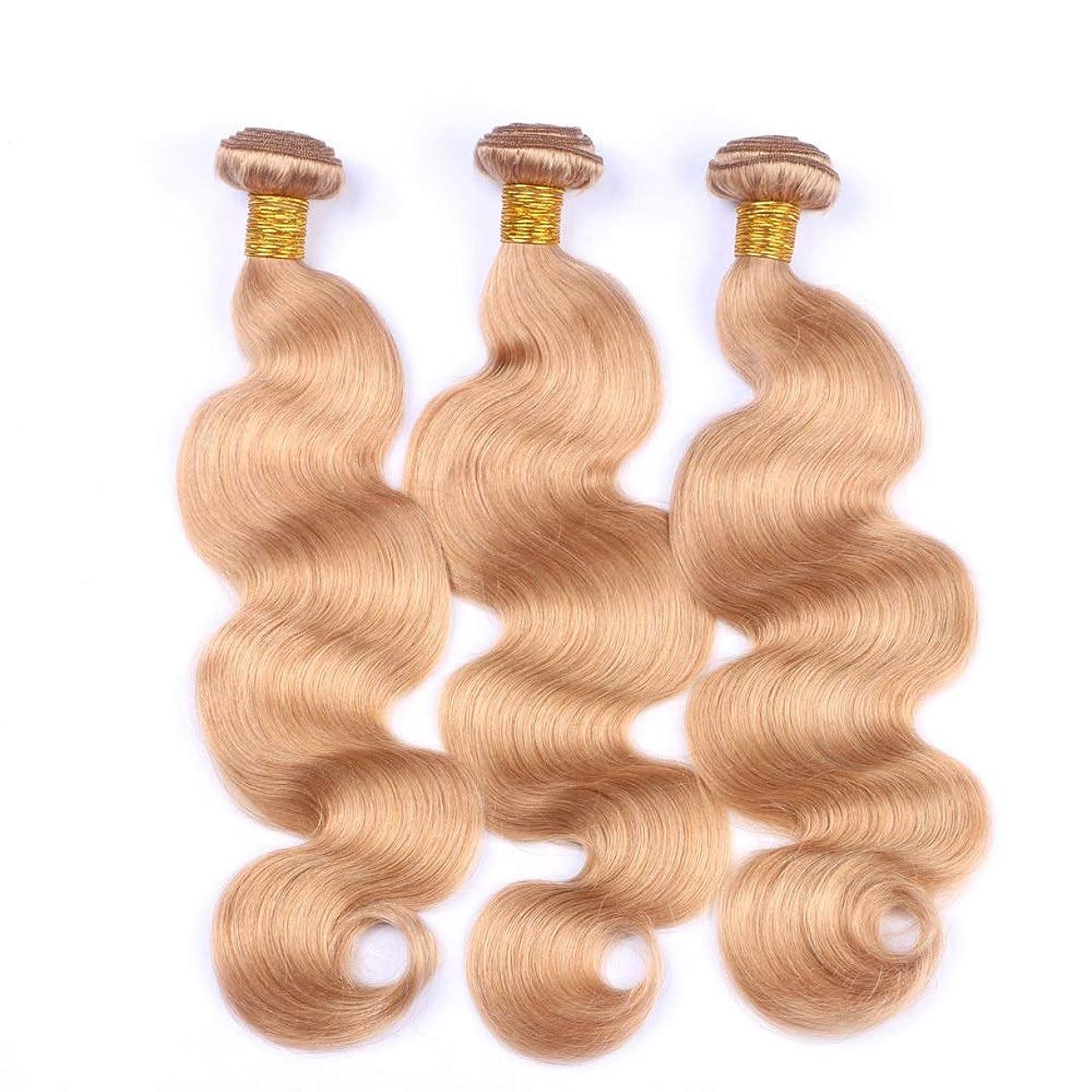 消える刈る忘れるYESONEEP オンブルヘアバンドル100%人毛ブラジルの実体波ヘアエクステンション#27ミルキーホワイトゴールデンカラー(10
