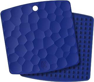 Kozygear - Juego de 2 alfombrillas de silicona, almohadillas de aislamiento caliente, soporte para ollas calientes,abridor de botellas/tarro, resistente al calor hasta 227 °C. azul marino