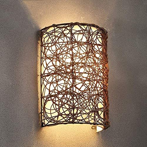 COMICA1 Moderne wandlamp handgeweven wandlamp rotan wandlamp wandlamp aftrekplaatje wandlamp wandlamp slaapkamer woonkamer balkon verlichting, beige