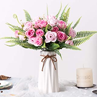 YILIYAJIA Artificial Silk Rose with Vase,30 Head Flowers Bulk Wedding Bouquets with Ceramic Vase Centerpieces for Decoration Table (Rose Pink)