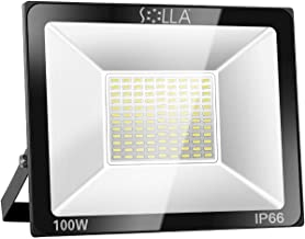 SOLLA 100W LED Flood Light, IP66 Waterproof, 8000lm, 550W Equivalent, Super Bright Outdoor Security Lights, 3000K Warm Whi...