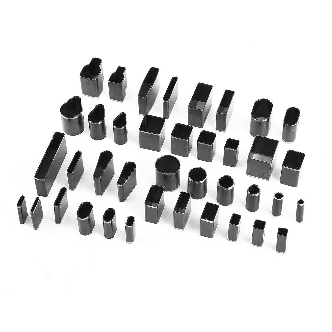 取り壊す自宅で好みSaikogoods 39pcs /電話ホルスターのための39図形スタイル穴中空カッターパンチメタルカッターパンチセット手作りのレザークラフトDIYツールの設定 黒