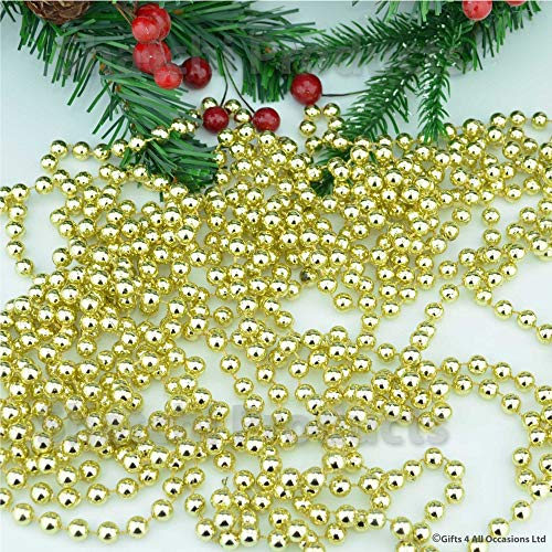 Shatchi 2940-GOLD-BALL-CHAIN 22FOOT goud opknoping kraal ketting slinger kerstboom Xmas Tinsel String Home Decoraties