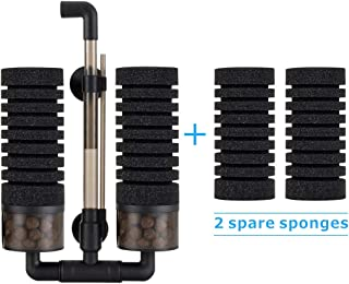 Hygger Aquarium Double Sponge Filter, Comes with 2 Spare Sponges, 1 Bag of Bio Ceramic Media Balls, Quiet Submersible Foam Filter for Fresh Water and Salt-Water Fish Tank