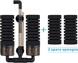 Hygger Aquarium Double Sponge Filter, Comes with 2 Spare Sponges, 1 Bag of Bio Ceramic..