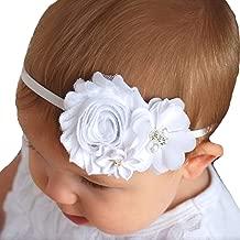 christening headbands white