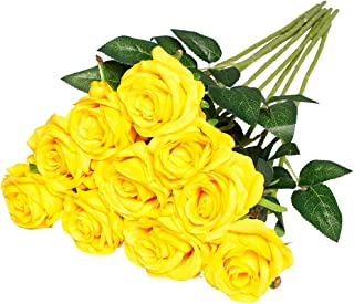 Nubry 10pcs Artificial Silk Rose Flower Bouquet Lifelike Fake Rose for Wedding Home Party Decoration Event Gift (Yellow)
