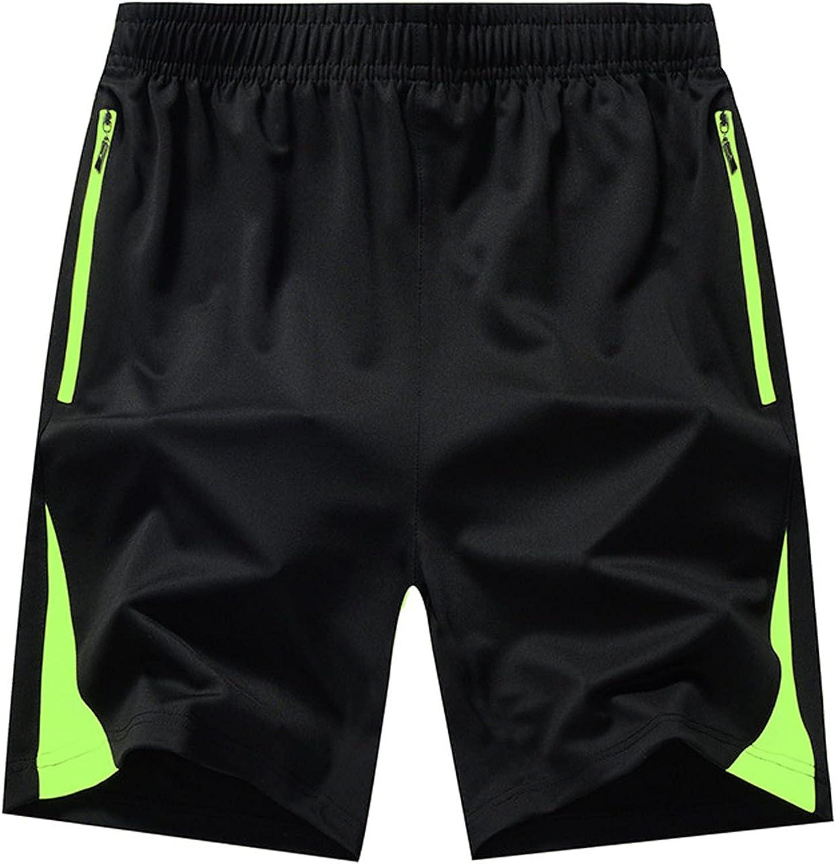 ZCAITIANYA Men's Shorts Casual Training Fitness Jogging Drawstring Fit Summer Elastic Waist with Zipper Pocket