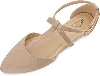 (A-LAUREL02 Womens Pointed Toe Ankle Wrap T-Strap D'Orsay Flats