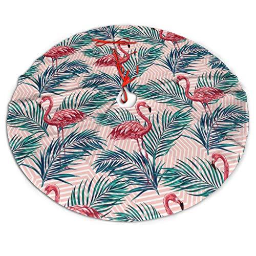FENTINAYA Jupe d'arbre de Noël de feuilles de palmier Tropical de flamants Roses - Tapis de jupes d'arbres de 48 pouces Pour ornements de Noël d'arbre