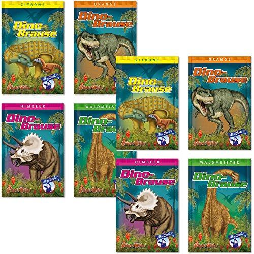 8 x * DINO BRAUSE * ┃ Mitgebsel Dinosaurier T-Rex Kindergeburtstag ┃ Süßigkeiten mit 4 Geschmäcker ┃ Hersteller aus Deutschland ┃ Kinder lieben diese Ahoj-Brause