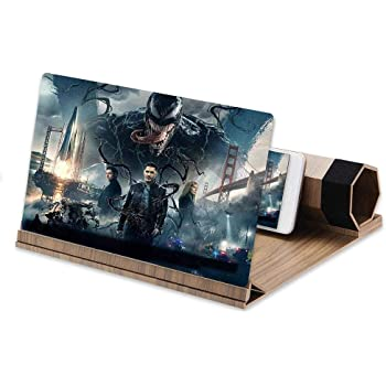 12''3D HD Screen Magnifier, Solid Wood Grain Foldable Mobile Phone Screen,Suitable for Watching Movie Videos on All Smartphones Gift