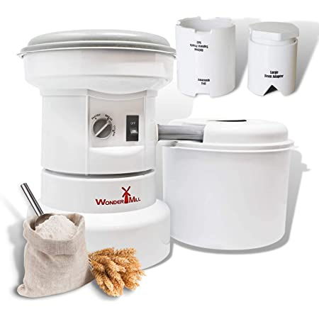 WONDERMILL - Grain Grinder with Flour Canister, Small Grains and Large Beans Attachment Combo - Flour Milling Machine for Home and Professional Use - Self-cleaning Electric Grain Mill Grinder
