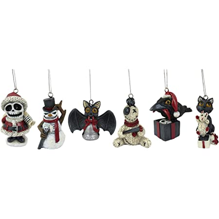 """World of Wonders Scary Merry Christmas Halloween and Christmas Tree Ornaments (6 Piece Set)   Christmas Decorations for The Tree   Scary Christmas Decorations - 3.5"""""""