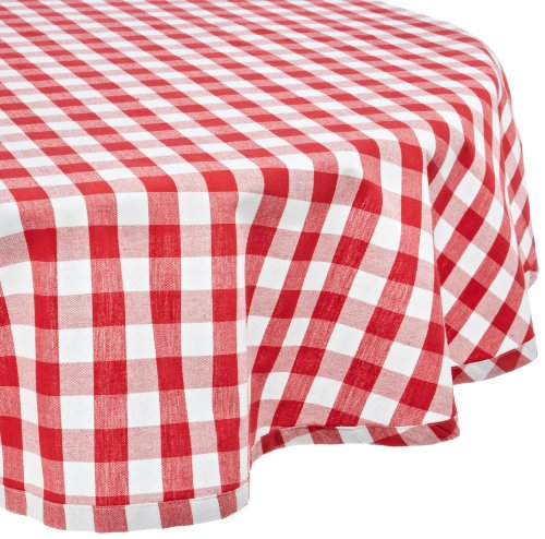 DII CAMZ32670  70' Round Cotton Tablecloth, Red & White Check - Perfect for Fall, Thanksgiving, Farmhouse Décor, Dinner Parties, Christmas, Picnics & Potlucks or Everyday Use