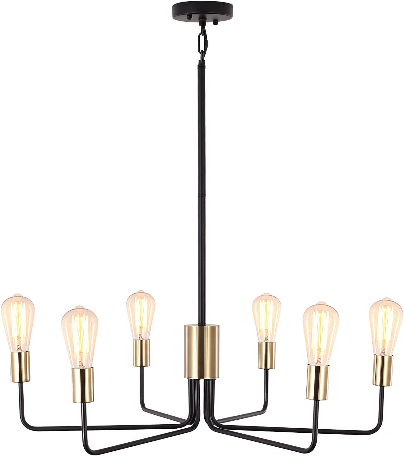 Modern Chandelier 6-Light JDfeiFFF Inventory cleanup selling Max 74% OFF sale Gold Penda and Black Ceiling