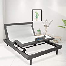 MAXXPRIME Wall Hugger Adjustable Bed Frame with Okin Motor, Electric Bed Base with Dual Massage & USB, Under Bed Nightligh...