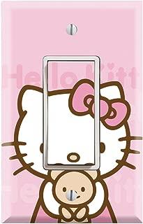 Single Rocker Wall Switch/Outlet Cover Plate Decor Wallplate - Hello Kitty Pink Teddy Bear