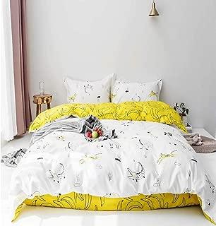 Jumeey Banana Yellow Duvet Cover Queen Lion Elephant Giraffe Zebra Rhinoceros Animal Print Bedding Sets Full Boys Girls Cartoon White Patterned Bedding Queen Set 100% Cotton Lemon Duvet Cover