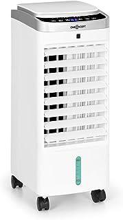 oneConcept Freshboxx Pro - 3-in-1: Luftkühler, Ventilator, Luftbefeuchter, 65 W, 966 m³/h, 3 Windstärken, Wassertank-Volumen: 5 Liter, 120° Oszillation, manueller vertikaler Luftstrom, weiß