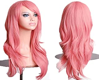 Remeehi Long Curly Cosplay Wigs For Women Synthetic Hair Fashion Party Full Wig 4# Pink