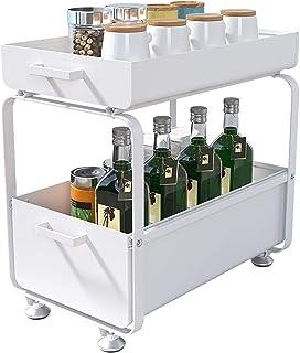 Plasaig - 2 Niveaux Etagere de Rangement sous Evier Rack, avec tiroir coulissant pour Cuisine, Salle de Bain, Chambre, en ...