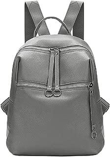 Kwok Women Backpack Fashion Tide Bag Wild Soft Leather Student Bag Simple Backpack Travel Bag Earphone Bag Handbag Tote