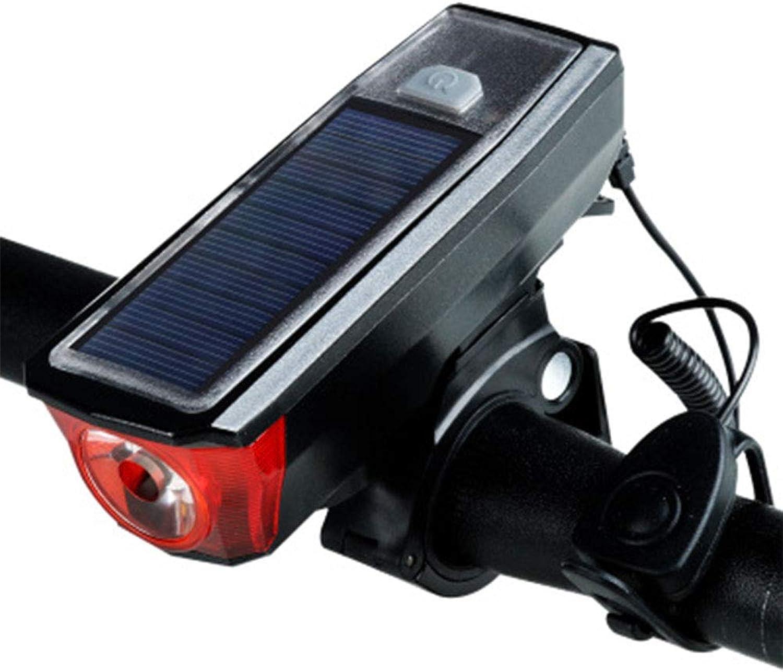 Bike Light Set Solar + USB Dual Charging Mode High Decibel Speaker + Highlight Headlight + Charging Treasure Function Water Resistance Flashlight for Night Rider