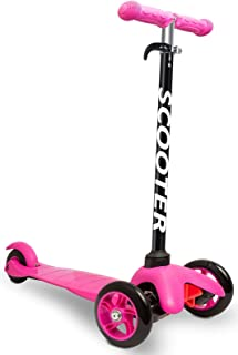 Scooters for Kids Toddler Scooter - Deluxe Aluminum 3 Wheel Glider w/Kick n Go, Lean 2 Turn Wheels, Step 4 Brake, Toddlers Training Three Wheeled Kid Ride on Toys Best for Little Boys & Girls