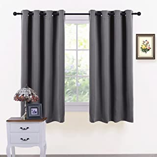 PONY DANCE Grey Window Curtains - Window Covering Thermal Grommet Light Blocking Panels/Drapes Blackout Blinds Home Decor for Bedroom, 52 Width by 63-inch Depth, Gray, 2 Pieces