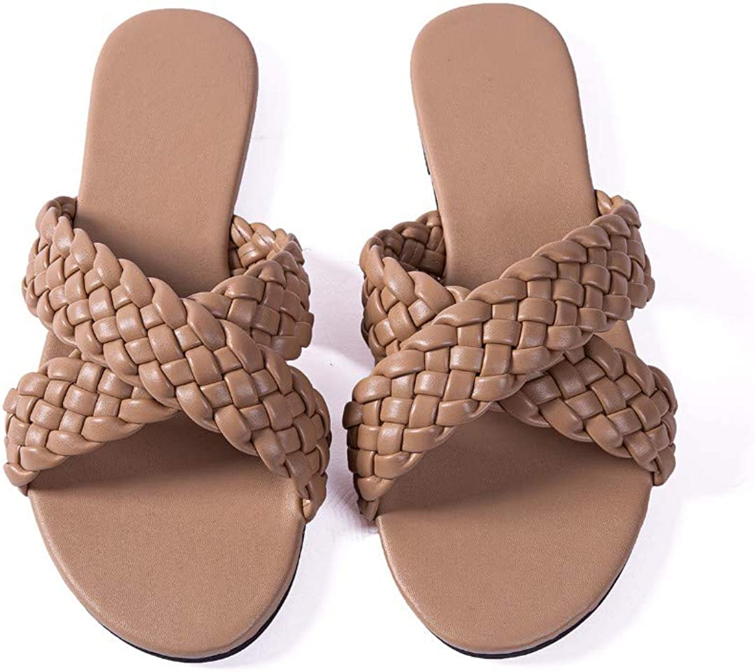 Women Flat Sandals Metal Woven Leather Comfort Walking Thong Flip Flops Sandals