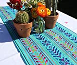 Del Mex Woven Rebozo Style Mexican Table Runner Scarf (Turquoise)