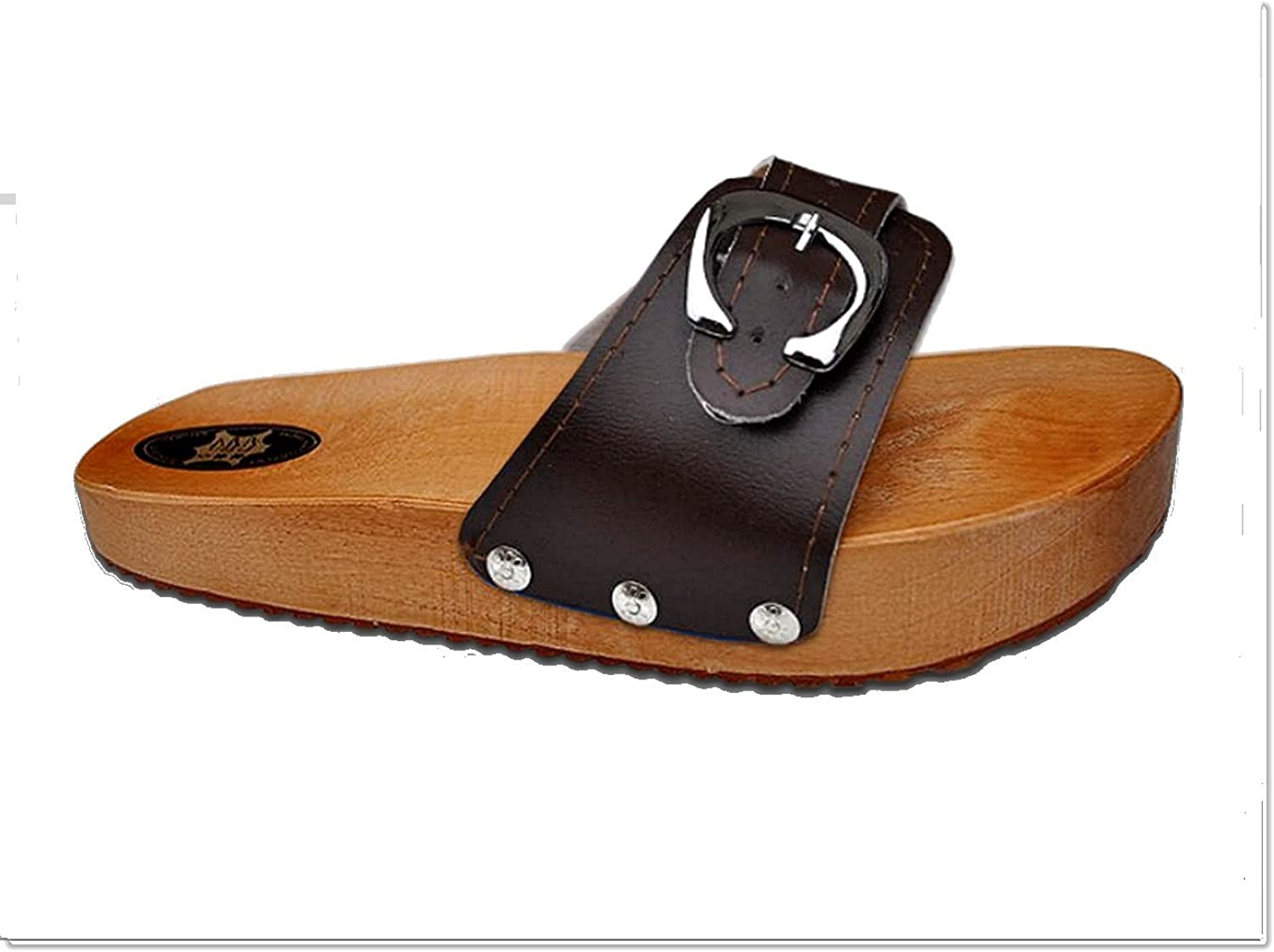 Marited' Brown Anti Cellulite Medical Slimming Sandals Clogs shoes Natural Wood and Leather