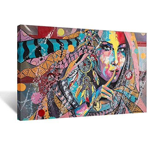 iHAPPYWALL Native American Indians Girl Feathered Canvas Wall Art Painting Home Decorations Stretched and Framed Ready to Hang 24x36inch