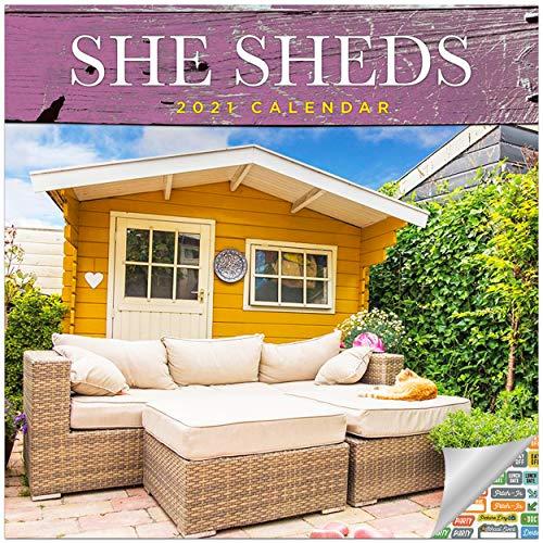 She Sheds Calendar 2021 Bundle - Deluxe 2021 Backyard She Sheds Wall Calendar with Over 100 Calendar Stickers