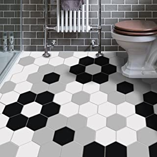 VANCORE Peel and Stick Tile Backsplash Stickers Hexagon Floor Tile Sticker for Bathroom Geometric Patterned Home Wall Decor 4.53x7.87inch 10 Pcs/Set …