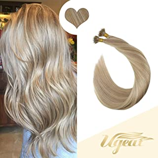 Ugeat 16inch Nano Rings Remy Human Hair Extensions Color Ash Blonde Highlight with Bleach Blonde Real Hair Nano Ring Extensions with Nano Beads 50Gram 1g/s