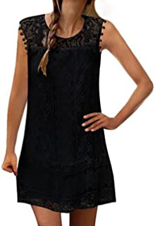 Hidream Women Plus Size Summer Sleeveless Lace Tank Top Mini Dress