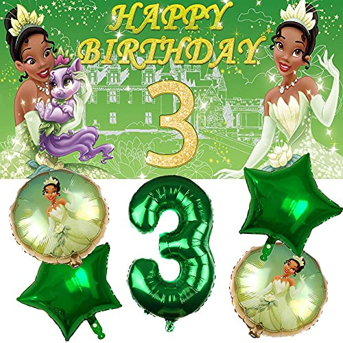 Tiana 3rd Party Supplies | Princess and The Frog | Third | Three | Decorations | Birthday | Banner | Balloons | For Girl | Backdrop | Decor