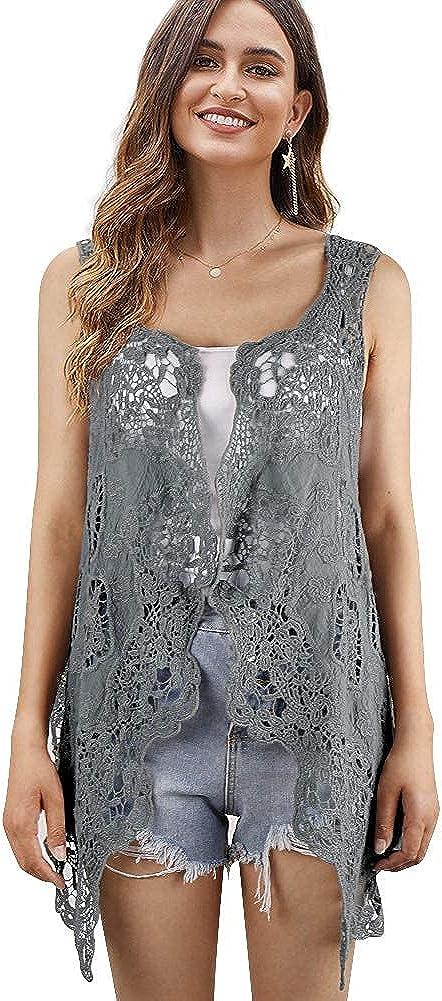 Women's Bolero Shrugs Boho Crochet Lace Open Stitch Cardigan Vest