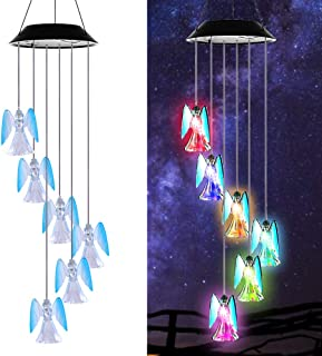 AceList Color-Changing Solar Mobile Wind Chime Moblie LED Light, Spiral Spinner Windchime Portable Outdoor Chime Patio Deck Yard Garden Home